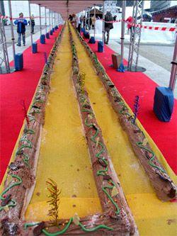 A more than 200 yard long yule log