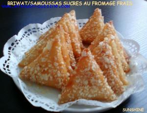 BRIWAT SAMOUSSAS SUCRES AU FROMAGE FRAIS.