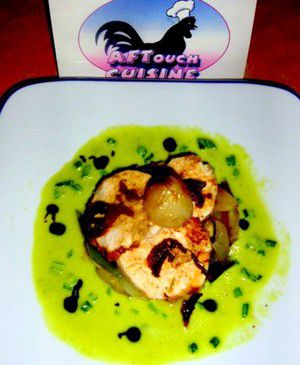 Roasted farm chicken breast stewed and zucchinis