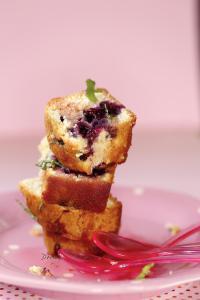 Cake aux myrtilles, menthe et citron