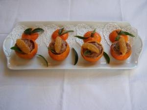 Coques de mandarines et mousse de chocolat