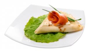 Crepes filled with Smoked Salmon