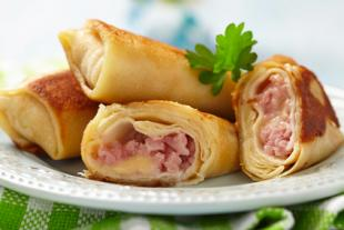 Ham and Cheese filled crepes