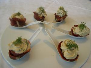 Cuill�res de chantilly de foie gras et de magret de canard fum�