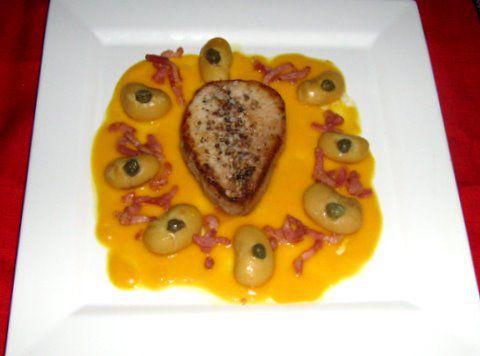 Mignon de veau rôti  coulis de potiron et Soissons