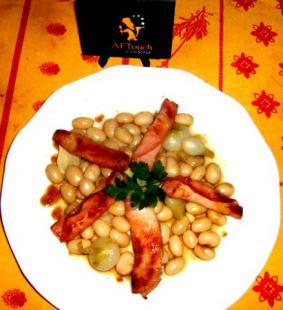 Mijotée  de cocos de Paimpol et  Bacon