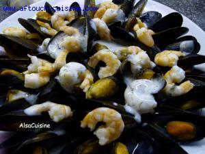 Moules de cordes, crevettes ail et persil