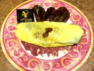 Omelette oseille rouge et pétoncles