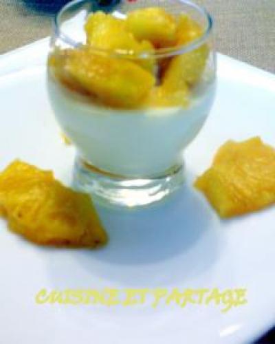 Panna cotta coco ananas et zeste de citrons