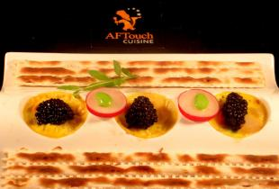 Prise de st jacques,Wakam� et caviar d'Aquitaine