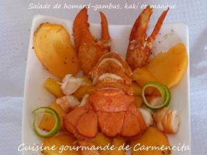 Salade de homard-gambas, kaki et mangue