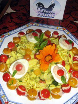 Salad of pasta with curcuma