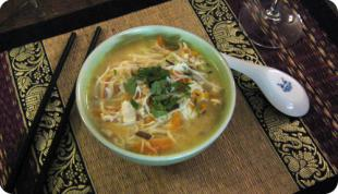 Soupe Tha� poulet citronnelle et coco