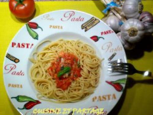 Spaghettis ail tomates basilic