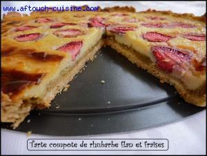 Flan � la compote rhubarbe et fraises