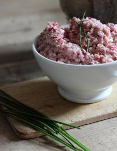 Tartinade toute rose au radis, échalote, chèvre et ciboulette