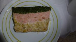 Terrine de saumon, épinards et poireaux