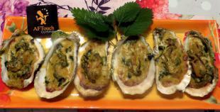 Huîtres pleine mer, pineau et crème d'ortie