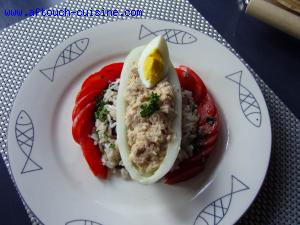 concombre farci et salade de riz