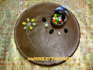 Gâteau croustillant mousse chocolat au lait et chocolat noir