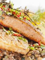 Pan fried salmon escalopes