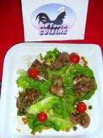 Warm salad of chicken liver