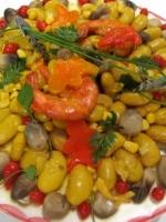 Salade de haricots de soissons ,gambas et champignons de paille