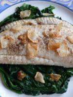 Roasted brill fillet with spinach